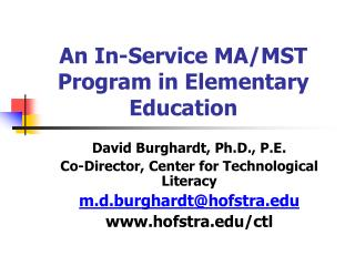 An In-Service MA/MST Program in Elementary Education