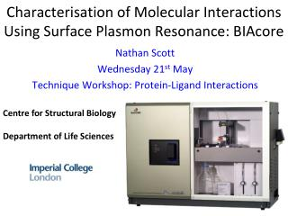 Characterisation of Molecular Interactions Using Surface Plasmon Resonance: BIAcore