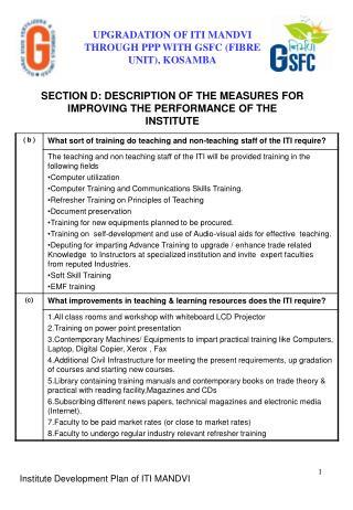 UPGRADATION OF ITI MANDVI THROUGH PPP WITH GSFC (FIBRE UNIT), KOSAMBA