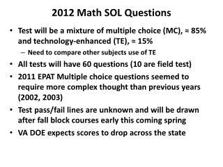 2012 Math SOL Questions