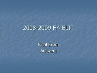 2008-2009 F.4 ELIT