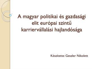 A magyar politikai és gazdasági elit európai szintű karriervállalási hajlandósága