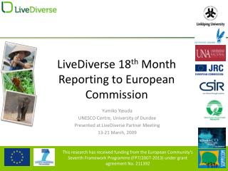LiveDiverse 18 th  Month  Reporting to European Commission