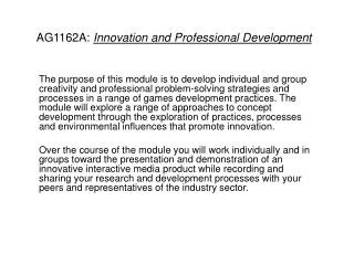 AG1162A:  Innovation and Professional Development