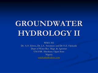 GROUNDWATER HYDROLOGY II