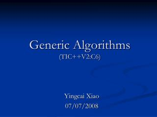 Generic Algorithms (TIC++V2:C6)