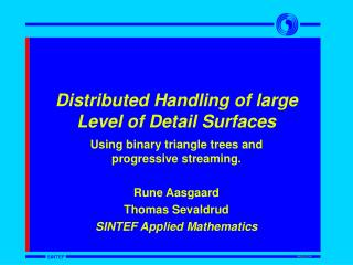 Distributed Handling of large  Level of Detail Surfaces