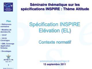 Spécification INSPIRE Elévation (EL) Contexte normatif