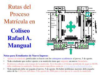 Rutas del  Proceso  Matrícula en Coliseo Rafael A. Mangual