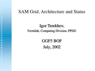 SAM Grid, Architecture and Status