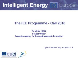 The IEE Programme - Call 2010