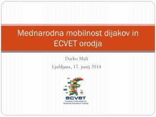 Mednarodna mobilnost dijakov in ECVET orodja
