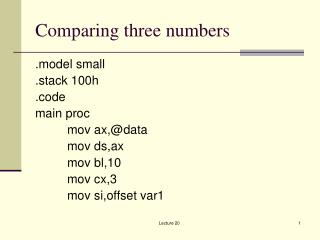 Comparing three numbers