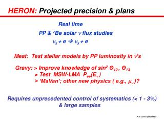 HERON:  Projected precision & plans