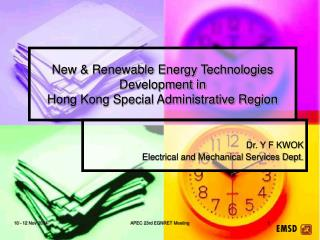 New & Renewable Energy Technologies Development in  Hong Kong Special Administrative Region