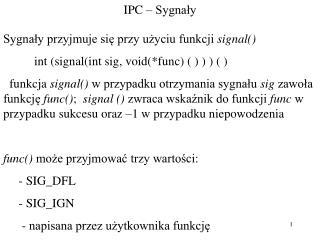 IPC – Sygnały