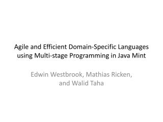 Agile and Efficient Domain-Specific Languages using Multi-stage Programming in Java Mint