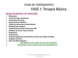 PLAN DE TRATAMIENTO                      FASE I: Terapia Básica