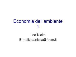 Economia dell'ambiente 1