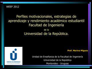 Prof. Marina Míguez Unidad de Enseñanza de la Facultad de Ingeniería Universidad de la República