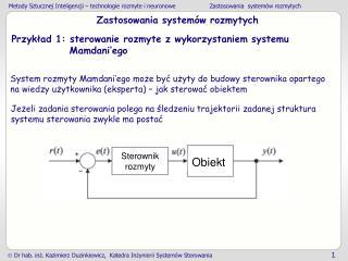 Zastosowania system�w rozmytych