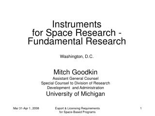 Instruments  for Space Research -   Fundamental Research Washington, D.C.