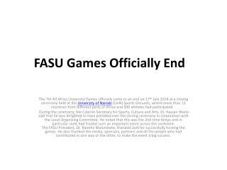 FASU Games Officially End