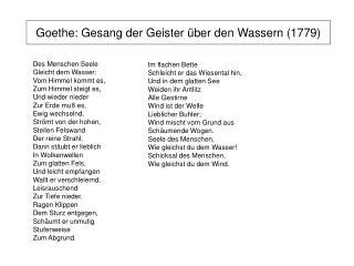Goethe: Gesang der Geister �ber den Wassern (1779)