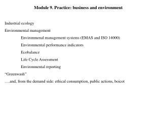 Module 9. Practice: business and environment