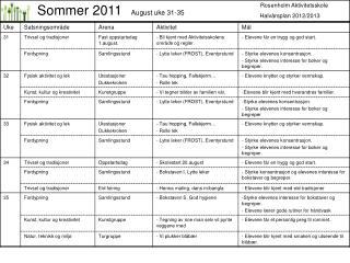 Rosenholm Aktivitetsskole                   Halvårsplan 2012/2013