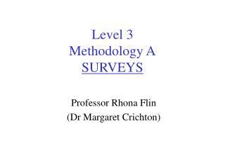 Level 3 Methodology A SURVEYS