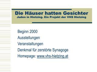 Die Häuser hatten Gesichter Juden in Hietzing. Ein Projekt der VHS Hietzing