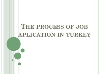 The process  of  job aplicatıon ın turkey