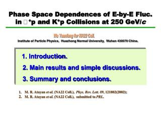 Phase Space Dependences of E-by-E Fluc.  in  + p and K + p Collisions at 250 GeV/ c