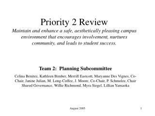 Team 2:  Planning Subcommittee