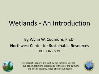 Wetlands - An Introduction