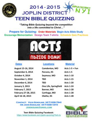 2014 - 2015 JOPLIN DISTRICT  TEEN BIBLE QUIZZING