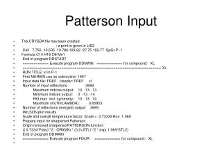 Patterson Input