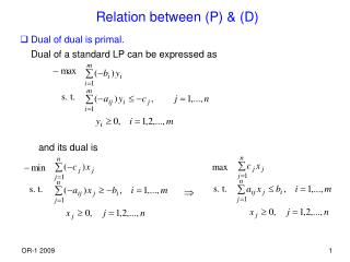 Relation between (P) & (D)