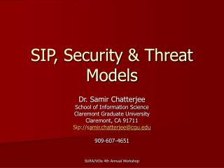 SIP, Security  Threat Models