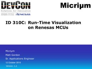 ID 310C:	Run-Time Visualization on Renesas MCUs