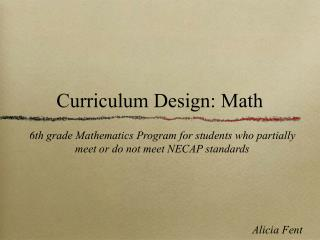 Curriculum Design: Math