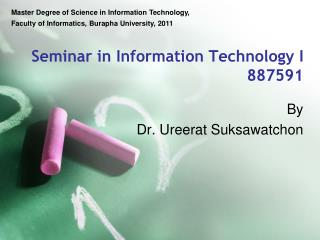 Seminar in Information Technology I 887591