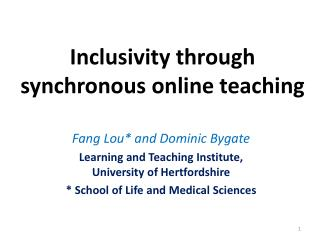 Inclusivity through synchronous online teaching