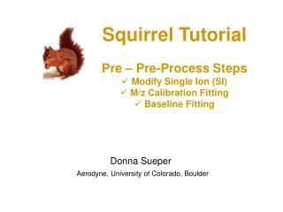 Squirrel Tutorial Pre – Pre-Process Steps  Modify Single Ion (SI)  M/z Calibration Fitting