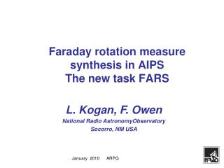 Faraday rotation measure synthesis in AIPS  The new task FARS
