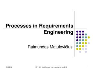 Processes in Requirements Engineering