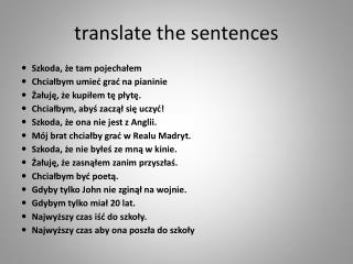 translate the sentences