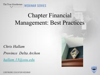 Chapter Financial Management: Best Practices
