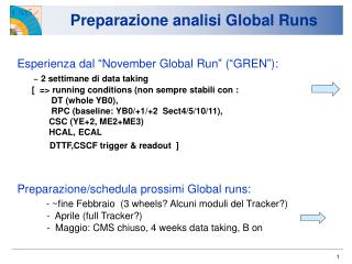 Preparazione analisi Global Runs